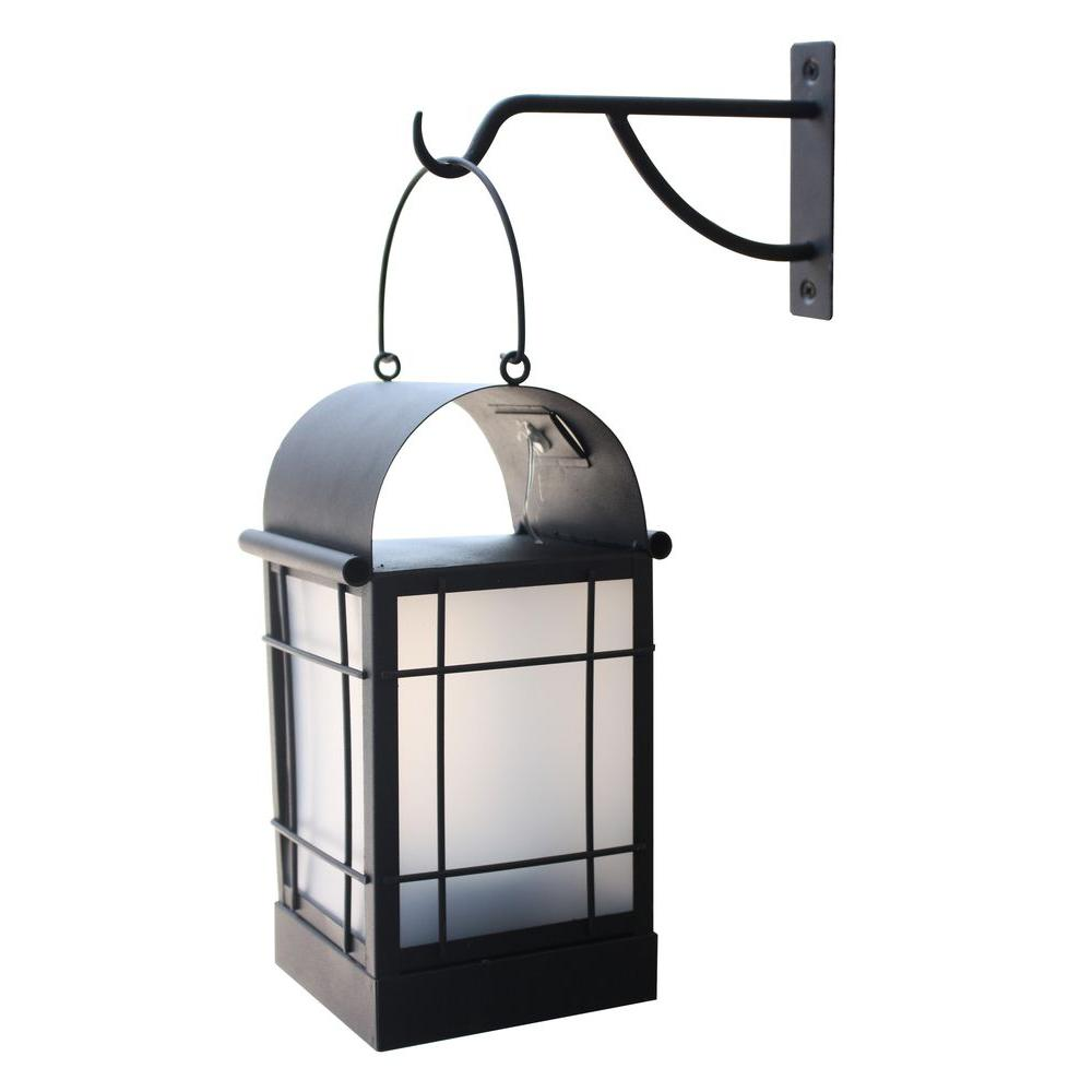 Moonrays Arched 1-Light Black Outdoor Integrated LED Wall Mount Lantern with Solar Powered Candle