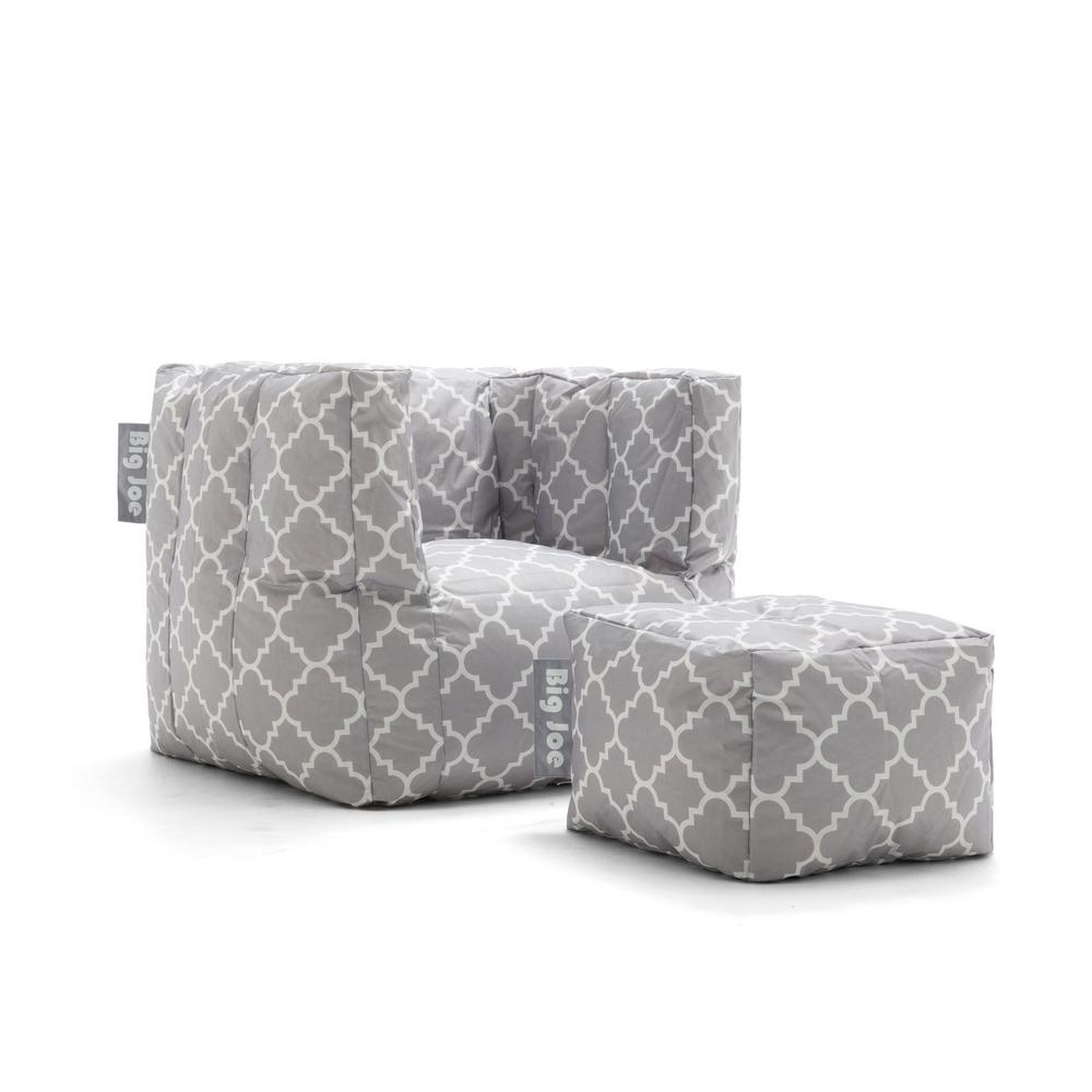 Joe Cube Chair With Ottoman Gray Quatrafoil Smartmax Bean Bag
