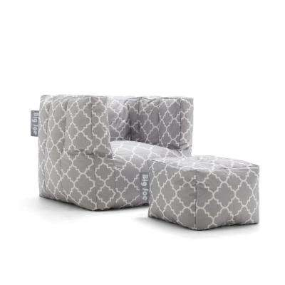 Cube Chair with Ottoman Gray Quatrafoil SmartMax Bean Bag