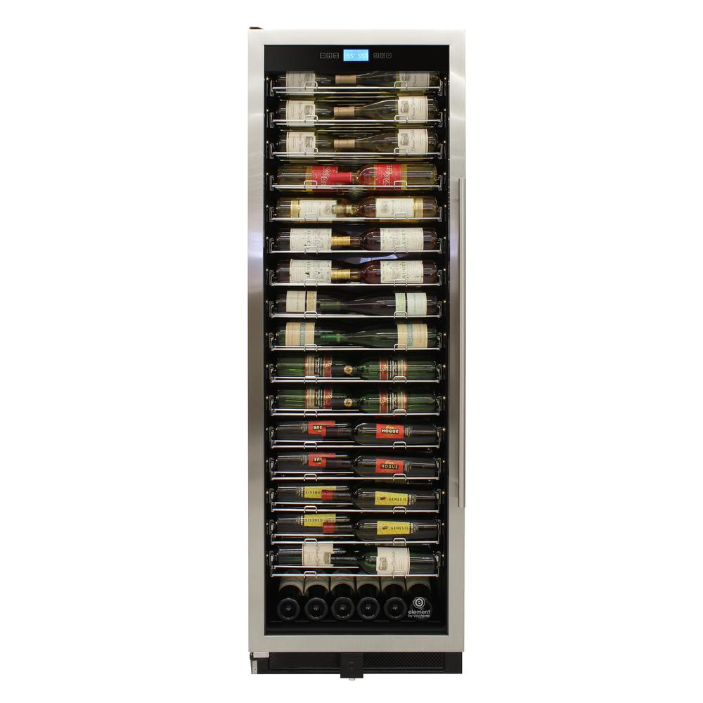 24 in. W 141-Bottle Single-Zone Wine Cooler in Stainless, Left Hinge