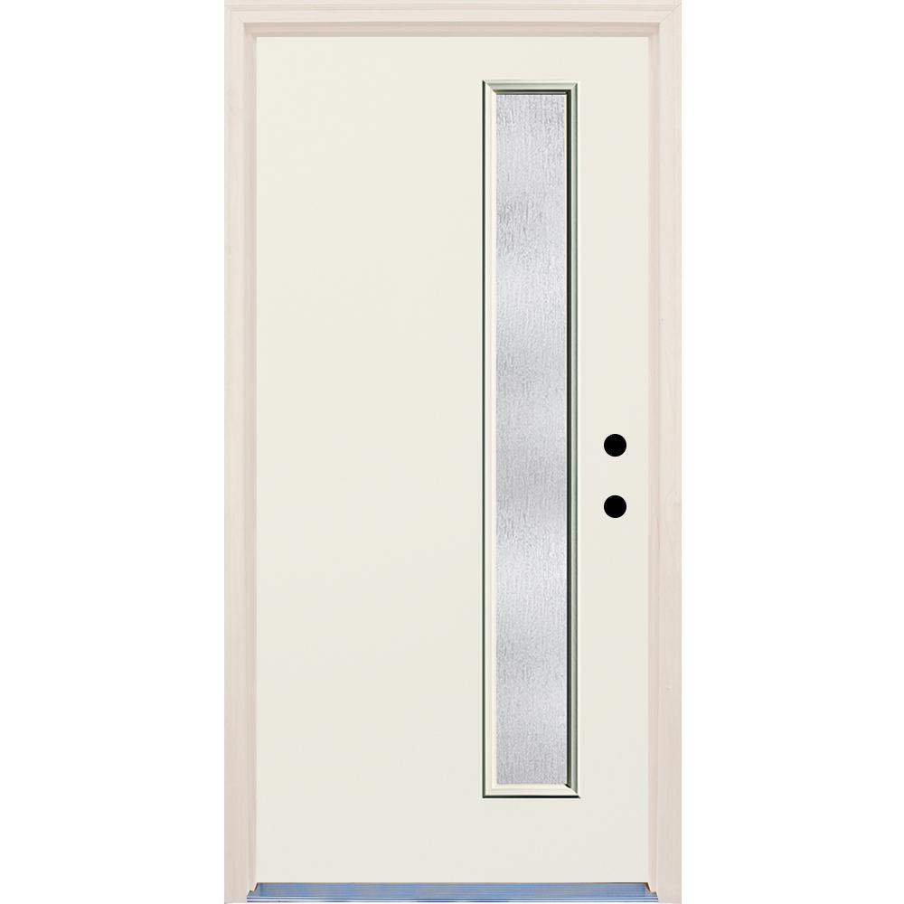 36 in. x 80 in. Left-Hand 1-Lite Rain Glass Unfinished Fiberglass Prehung Front Door with Brickmould