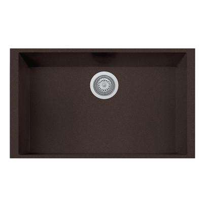 One Undermount Granite Composite 17 in. Single Bowl Kitchen Sink in Brown