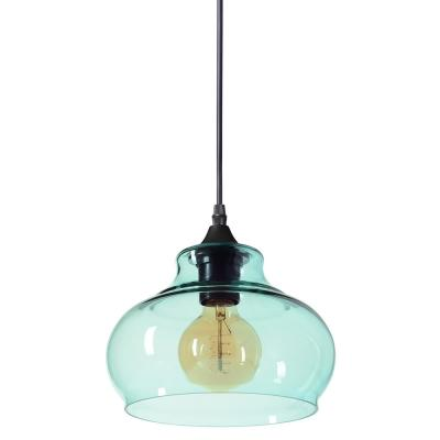 Windbell 8 in. W x 6 in. H 1-Light Black Hand Blown Glass Pendant Light with Teal Glass Shade