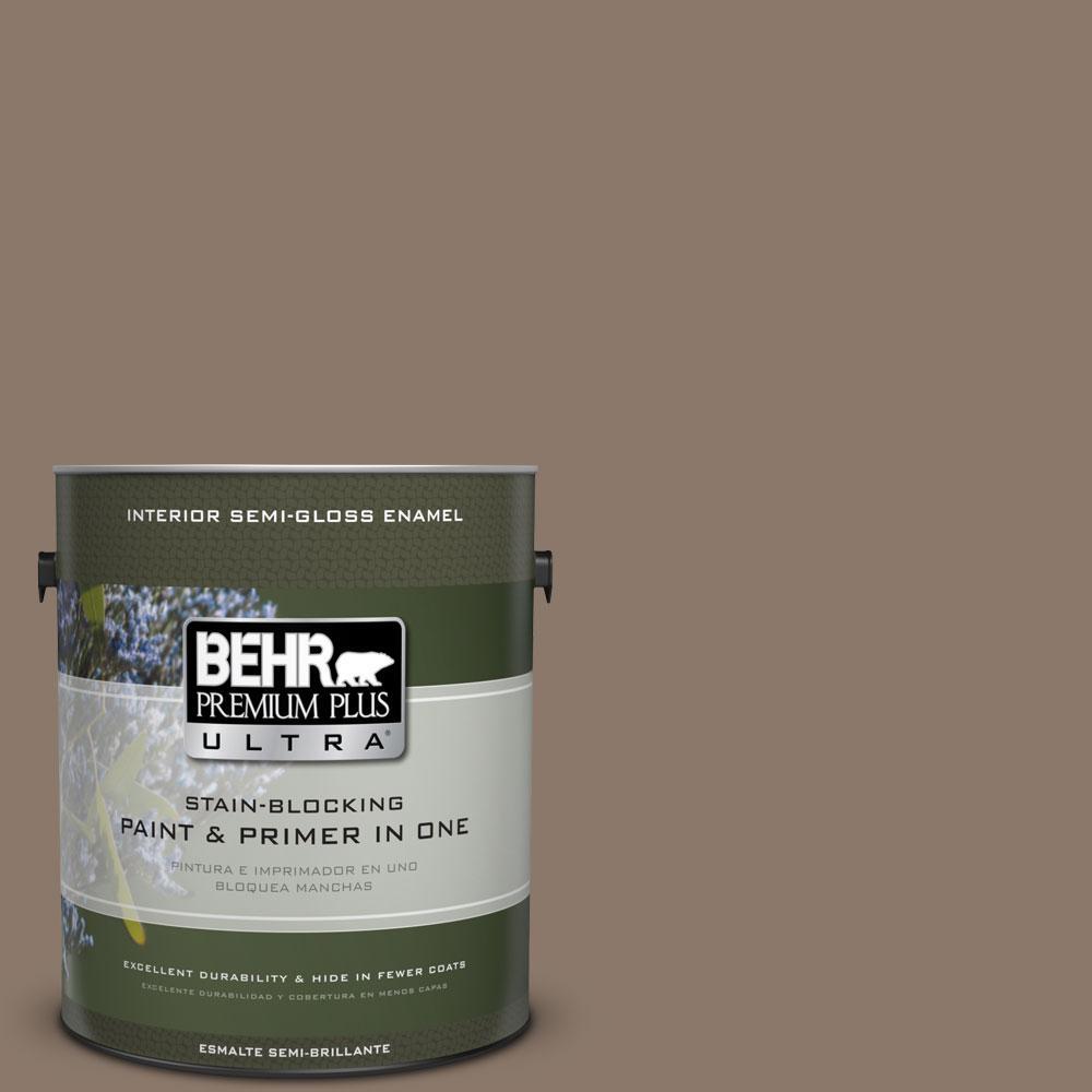 BEHR Premium Plus Ultra 1-gal. #N210-5 Caffeine Semi-Gloss Enamel Interior Paint
