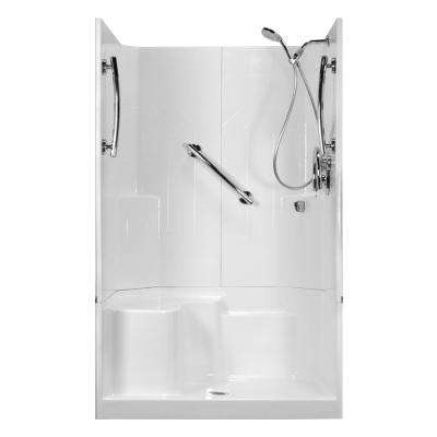 48 in. x 36 in. x 80 in. Freedom 3-Piece Low Threshold Shower Stall in White, LHS Molded Seat, Shower Kit, Center Drain