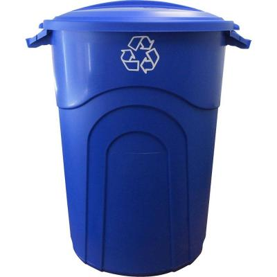 32 Gal. Outdoor Trash Can Recycling in Blue