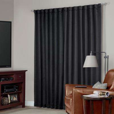 Blackout Black Media Back Tab Curtain - 63 in. L x 54 in. W