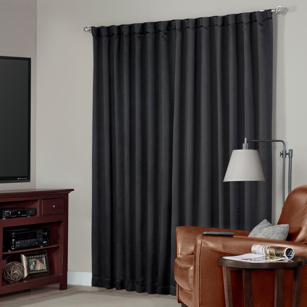 Blackout Black Media Back Tab Curtain