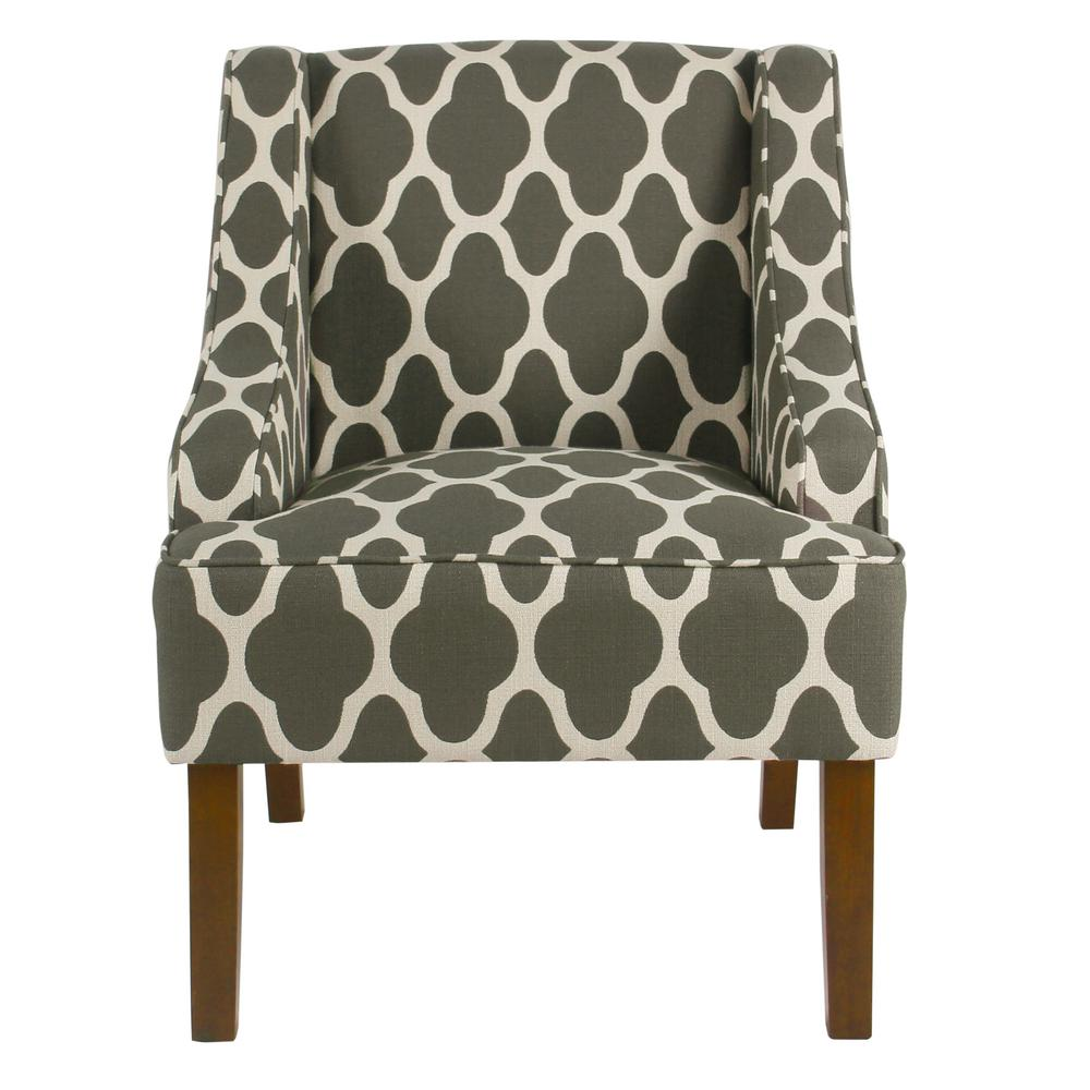 Homepop Geometric Gray Classic Swoop Arm Chair