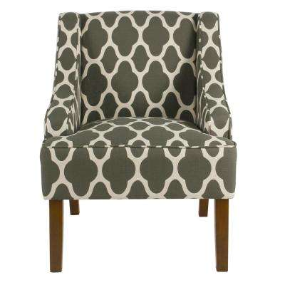 Geometric Gray Classic Swoop Arm Chair