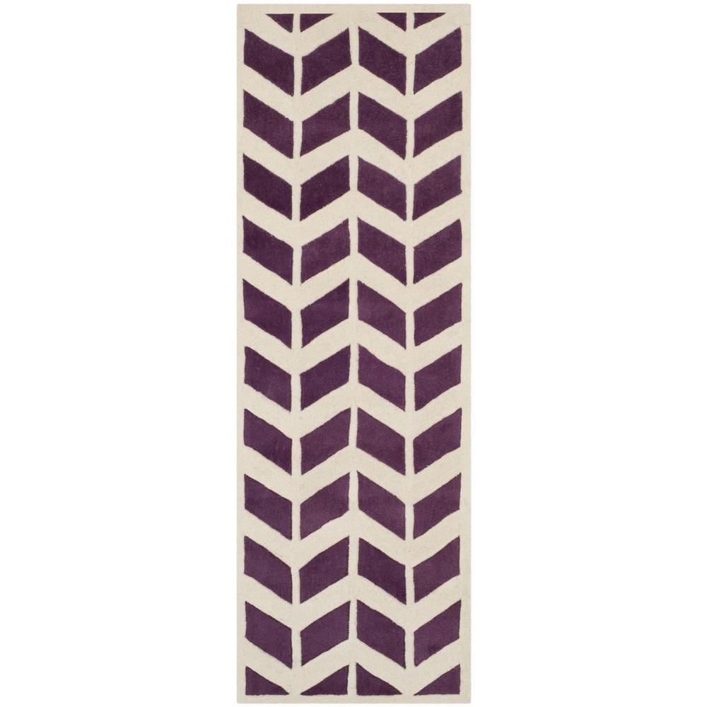 Chatham Purple/Ivory 2 ft. x 7 ft. Runner Rug