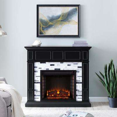 Etta Marble 46 in. Electric Fireplace in Black with White and Gray