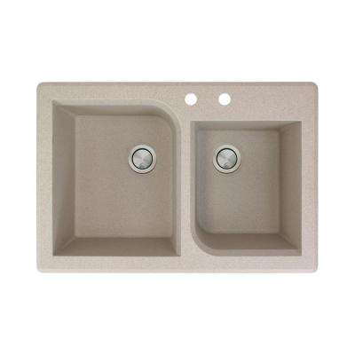 Radius Drop-in Granite 33 in. 2-Hole 1-3/4 Offset Double Bowl Kitchen Sink in Cafe Latte