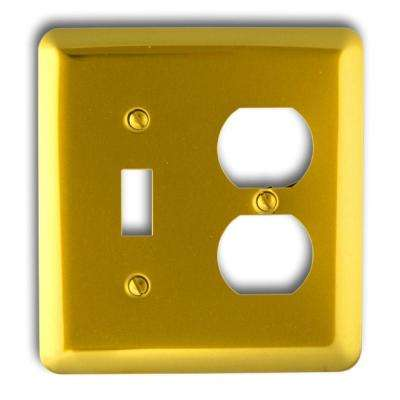 Steel 1 Toggle 1 Duplex Wall Plate - Bright Brass