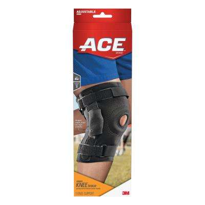One Size Adjustable Hinged Knee Brace in Black (Case of 12)