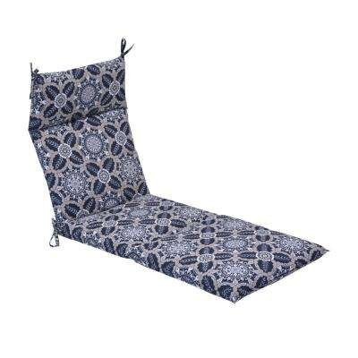 Black Tile Outdoor Chaise Lounge Cushion