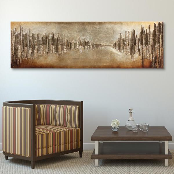 72 in. x 22 in. ''Passages'' Mixed Media Wooden Hand Painted Dimensional Wall Art