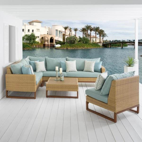 Mili 6-Piece Wicker Patio Sectional Seating Set with Sunbrella Spa Blue Cushions