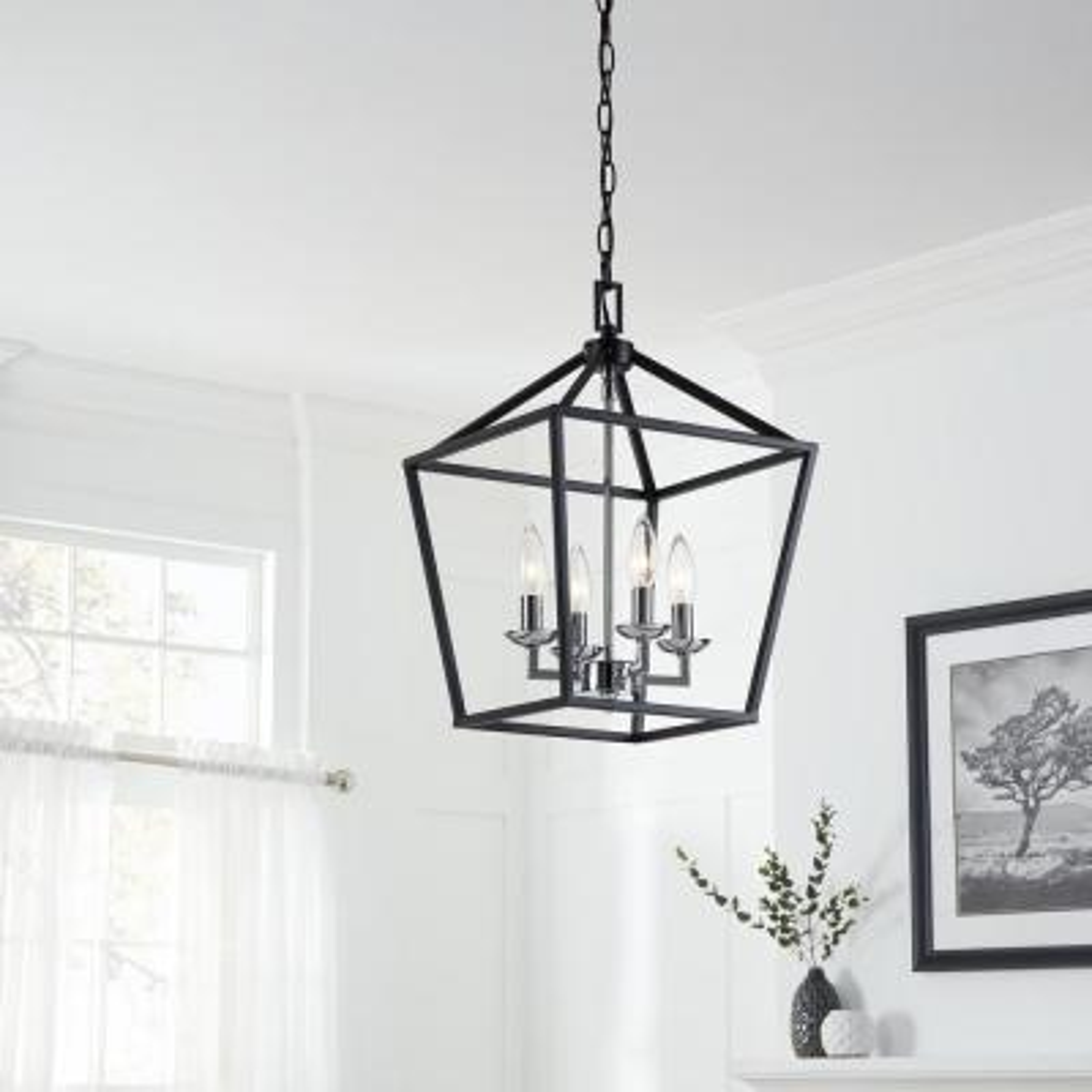 Weyburn 4-Light Black and Polished Chrome Caged Chandelier