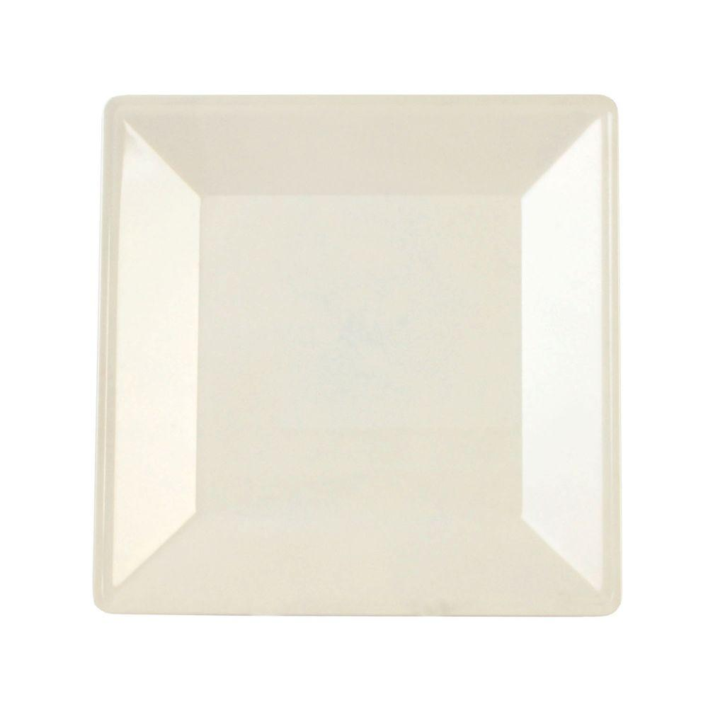 Restaurant Essentials Jazz 10-1/4 in. x 10-1/4 in. Square Plate 1 in. Deep in Pearl (1-Piece)