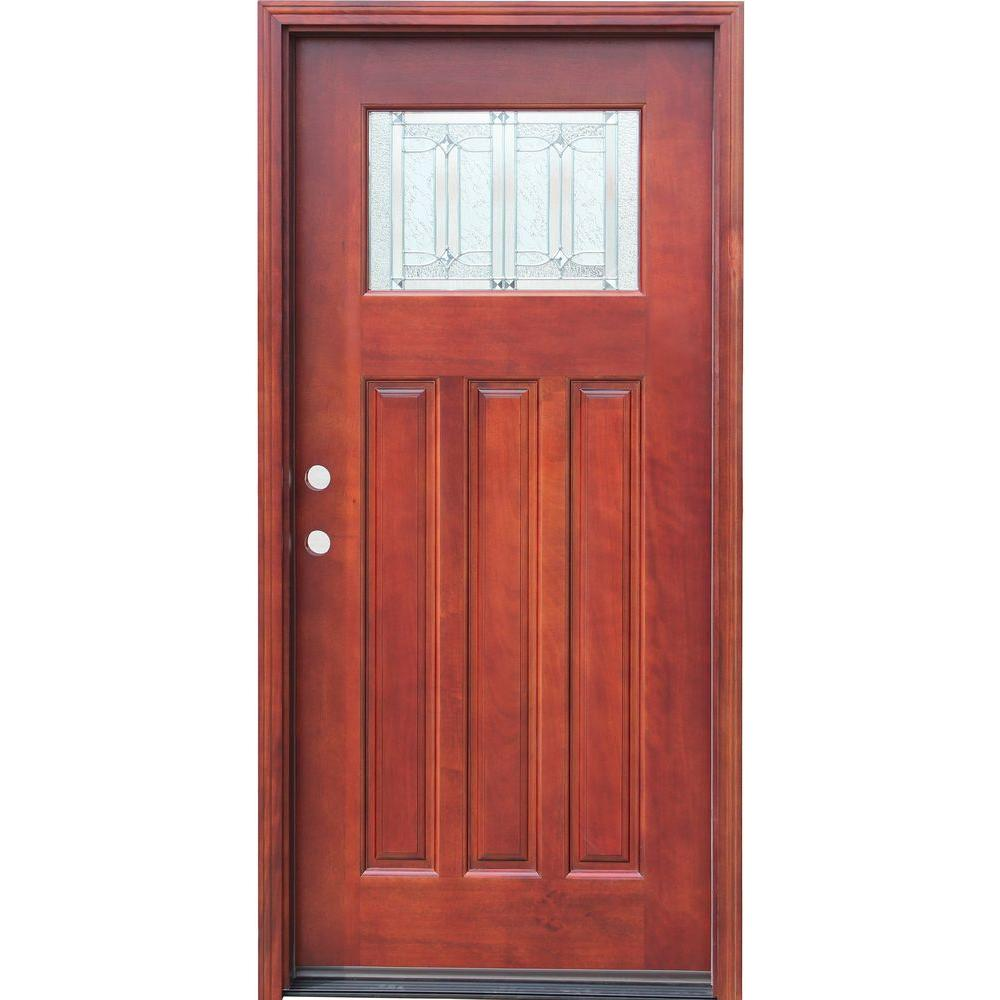 Pacific entries 36 in x 80 in craftsman 1 lite stained for Front door replacement home depot