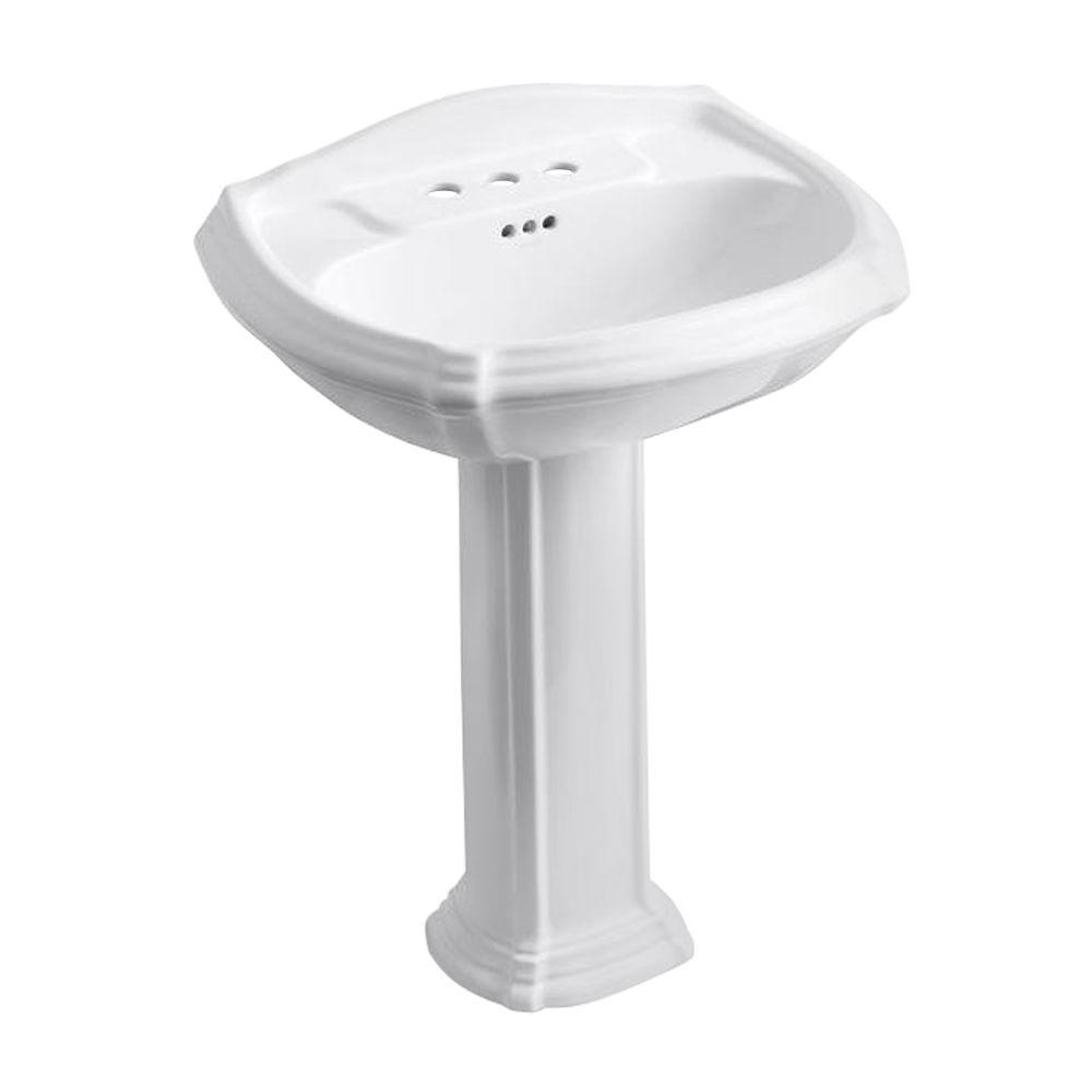 Portrait Vitreous China Pedestal Combo Bathroom Sink In White With Overflow