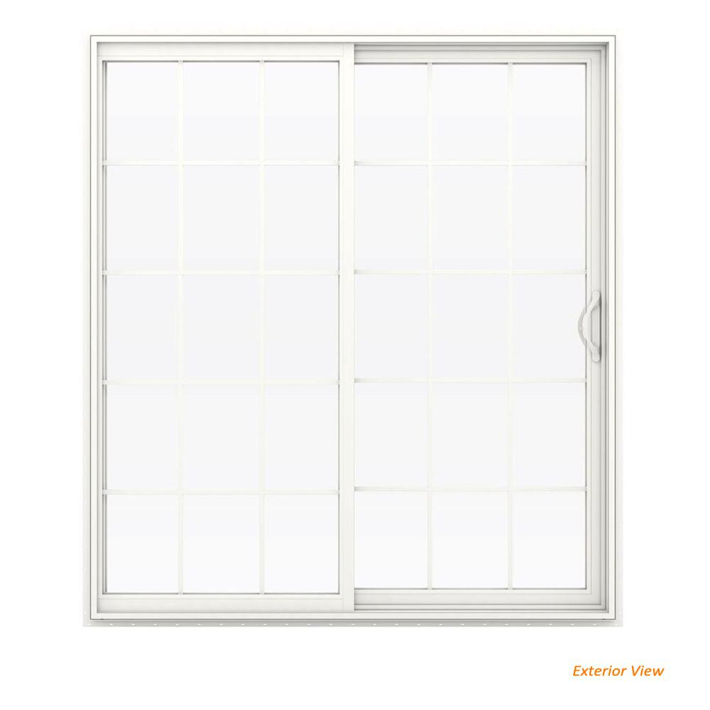 Jeld Wen 72 In X 80 In V 2500 White Vinyl Right Hand 15 Lite Sliding Patio Door W White Interior Thdjw181500222 The Home Depot