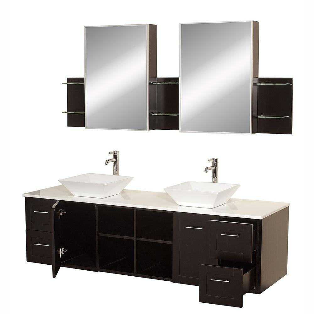 Double Bowl Sink Vanity.Wyndham Collection Avara 72 In Vanity In Espresso With Double Basin Stone Vanity Top In White And Medicine Cabinets