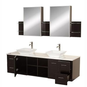 Wyndham Collection Avara 72 inch Vanity in Espresso with Double Basin Stone Vanity Top in... by Wyndham Collection