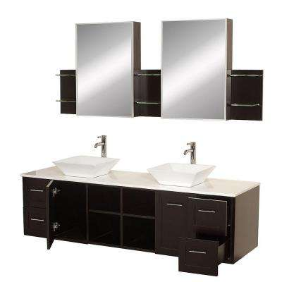 Avara 72 in. Vanity in Espresso with Double Basin Stone Vanity Top in White and Medicine Cabinets