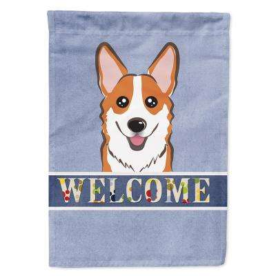 11 in. x 15-1/2 in. Polyester Red Corgi Welcome 2-Sided 2-Ply Garden Flag