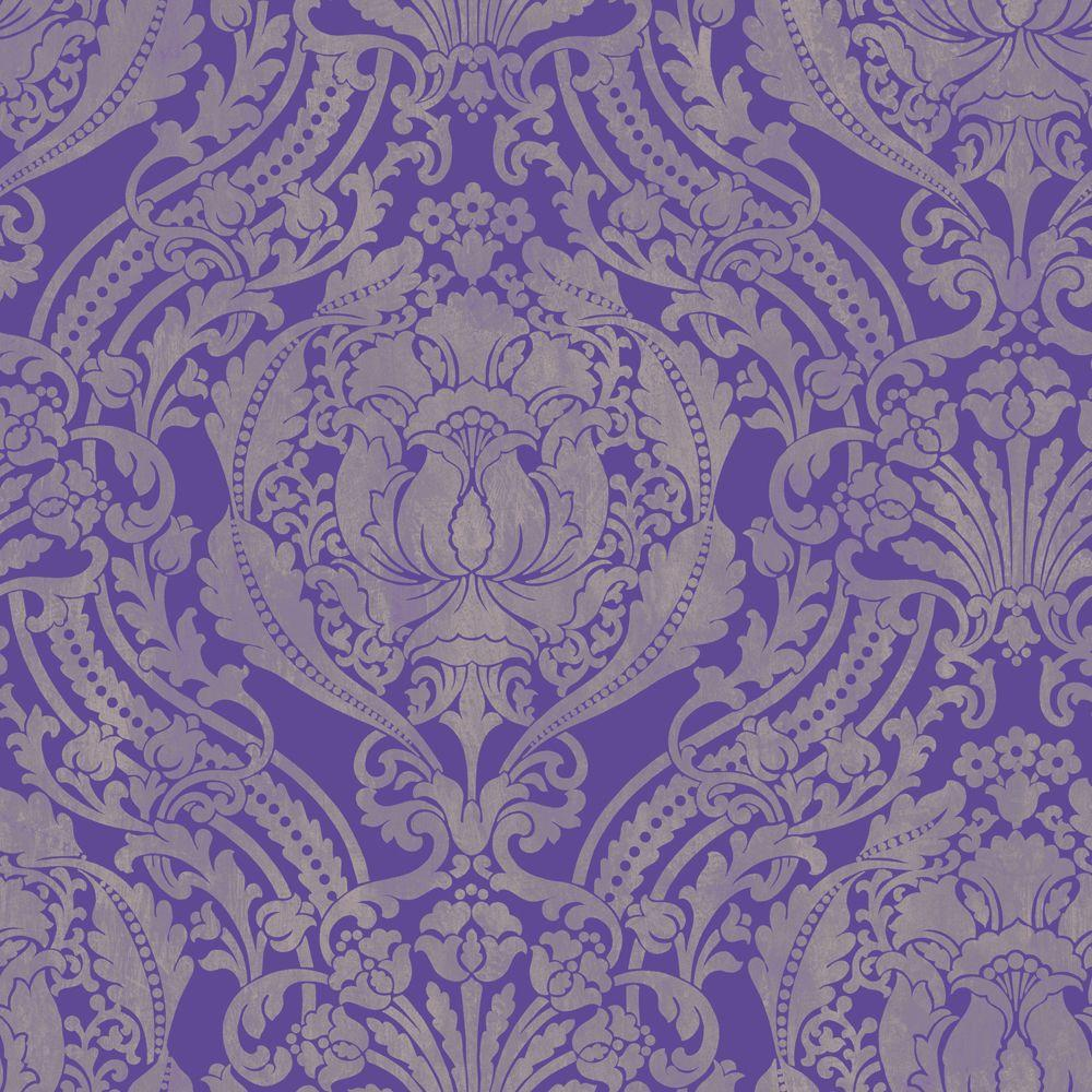 The Wallpaper Company 8 in. x 10 in. Silk Damask Red Wallpaper Sample