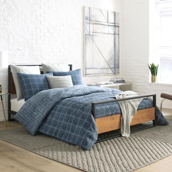 Holden Grid Blue 3-Piece Cotton King Comforter/Sham Set