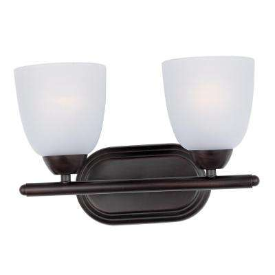 Axis 2-Light Oil Rubbed Bronze Bath Light Vanity with Frosted Shade