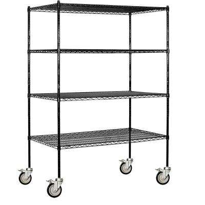 9600M Series 60 in. W x 80 in. H x 24 in. D Industrial Grade Welded Wire Mobile Wire Shelving in Black