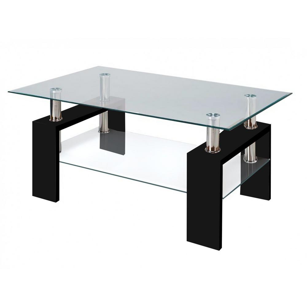 Fab Glass And Mirror Modern Glass Black Coffee Table With Shelf