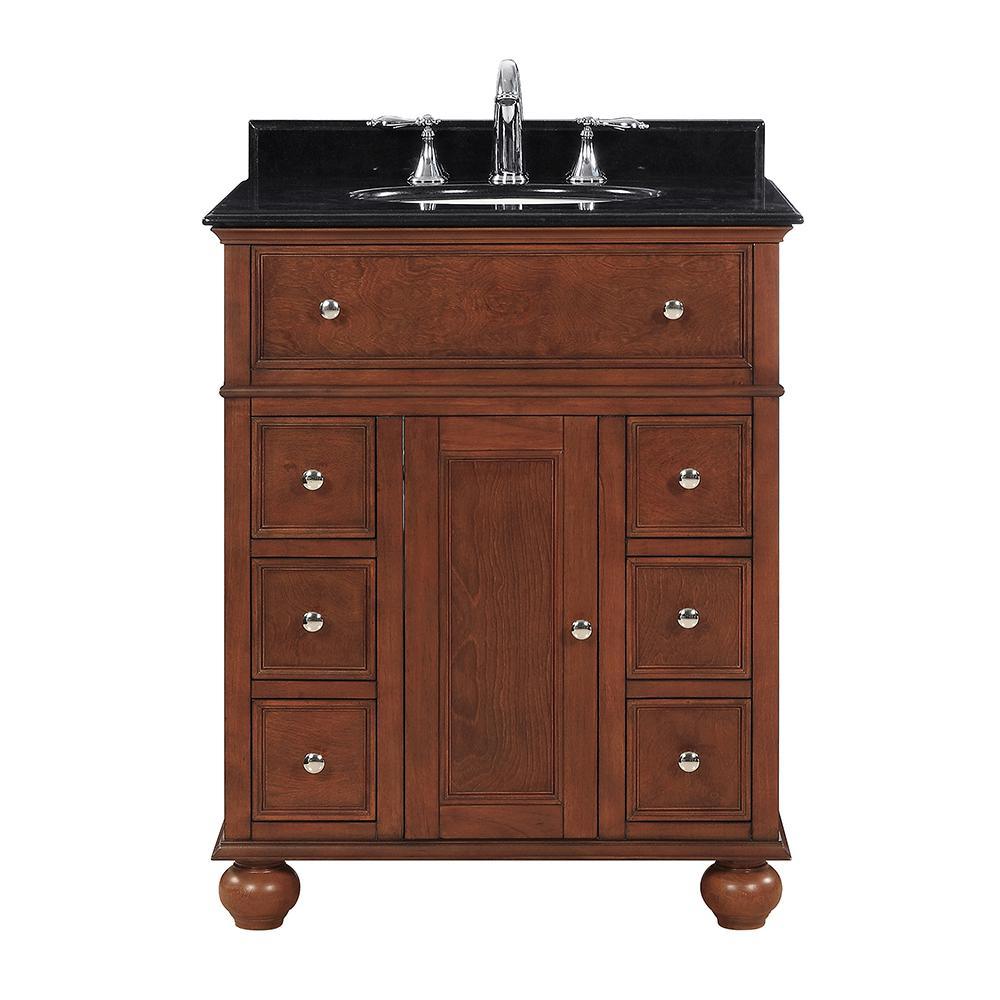 Home Decorators Collection Hampton Harbor 28 in. W x 22 in. D in Sequoia Bath Vanity with  Granite Vanity Top in Black with White Sink