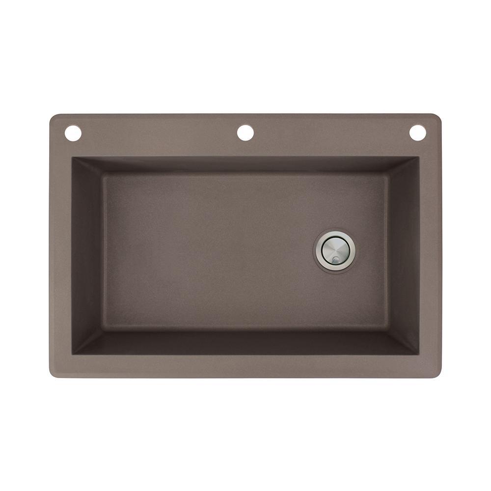 Transolid Radius Drop-in Granite 33 in. 3-Hole Single Bowl Kitchen Sink in Espresso