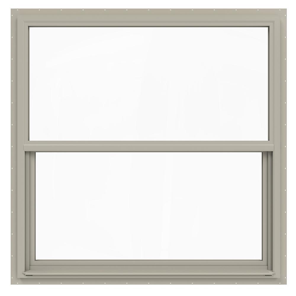 48 in. x 42 in. V-4500 Series Desert Sand Single-Hung Vinyl Window with Fiberglass Mesh Screen