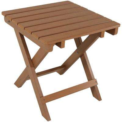 All-Weather Brown Square Plastic Outdoor Side Table