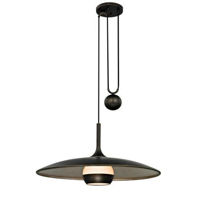 Alchemy 125-Watt Vintage Bronze and Champagne Silver Leaf 30 in. W Integrated LED Pendant with Opal White Glass Shade