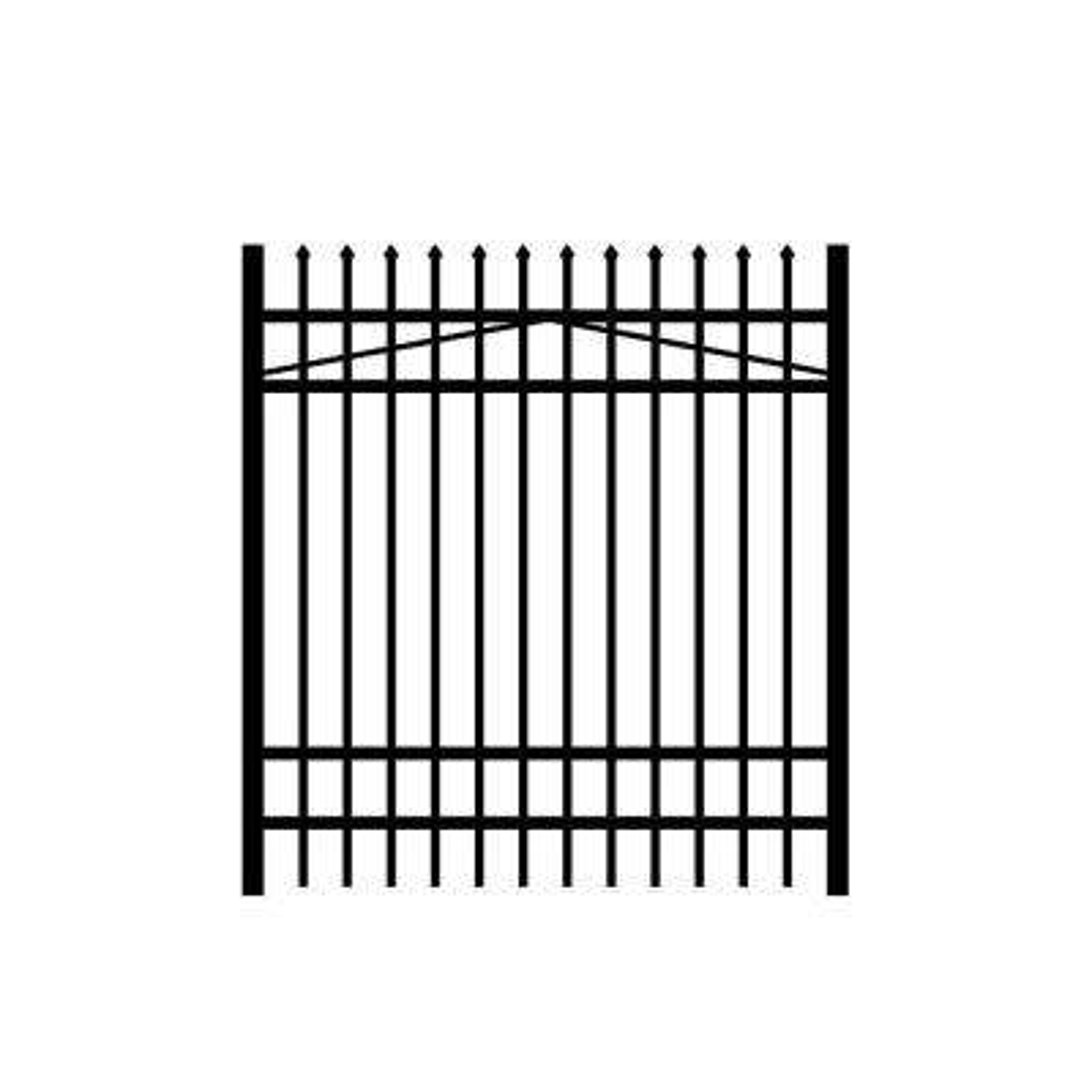 Washington 5 ft. W x 6 ft. H Black Aluminum 4-Rail Fence Gate
