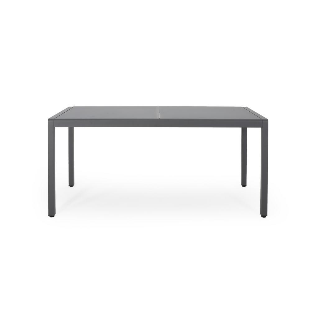 Cape Coral 30 in. Gun Metal Grey Rectangular Aluminum Outdoor Dining Table