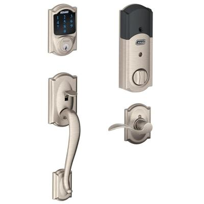 Camelot Satin Nickel Connect Smart Door Lock with Alarm and Right Handed Accent Lever Handleset