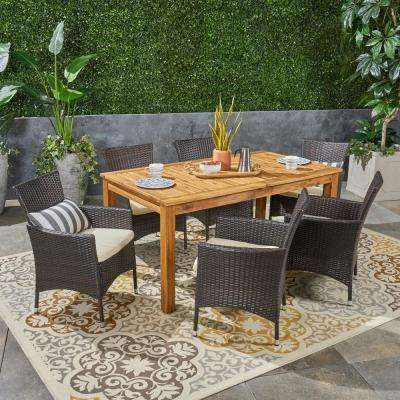 Nadia Multi-Brown 7-Piece Wood and Wicker Outdoor Dining Set with Beige Cushions