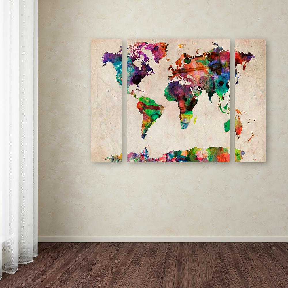 Trademark fine art 30 in x 41 in watercolor world map by michael watercolor world map by gumiabroncs Image collections