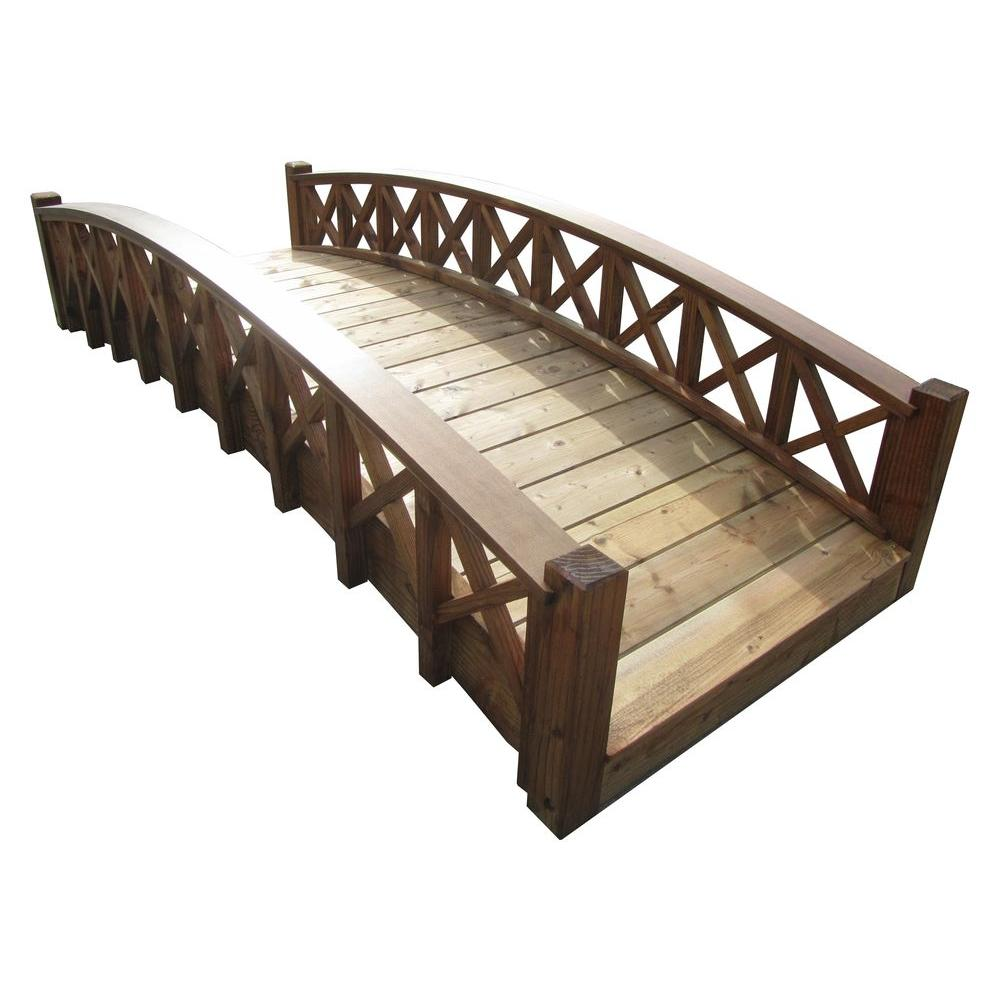 Design Garden Bridges samsgazebos 8 ft wood garden swan bridge with cross halved lattice railings treated