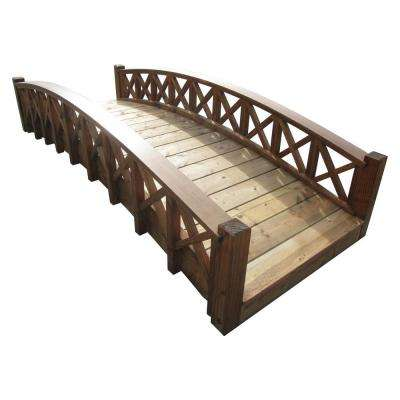 8 ft. Wood Garden Swan Bridge with Cross Halved Lattice Railings - Treated