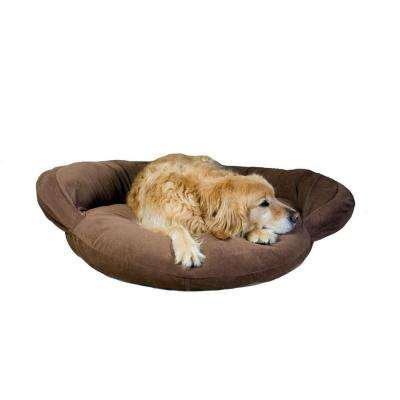 Large Velvet Microfiber Bolster Pet Bed - Chocolate