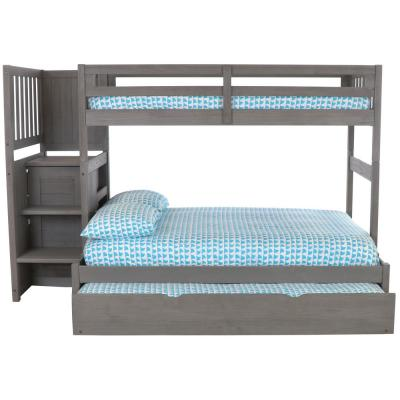 Charcoal Twin Over Twin Solid Wood Staircase Bunkbed with 4-Drawer Chest and Twin Trundle